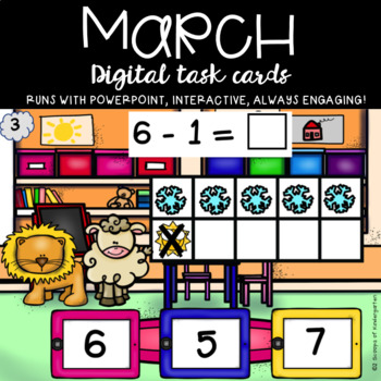 March Subtraction within 10 using a 10 frame (Lion & Lamb theme)