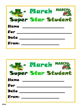 March Super Star Student Award
