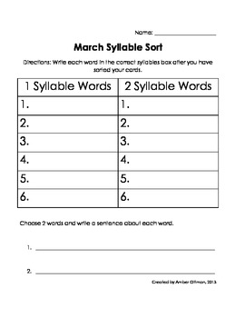 March Syllable Sort (1 & 2 syllable words)