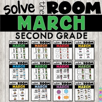 March Task Cards Math 2nd Grade