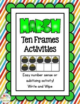 March Ten Frames Subitizing Activity Kindergarten, First, Number Sense