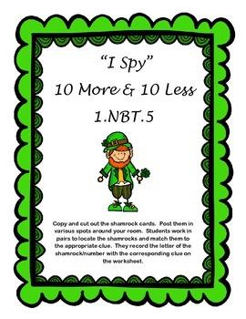 """March Ten More, Ten Less """" I Spy""""  1.NBT.5"""