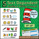 March Text Dependent Reading - Text Dependent Writing Prompts (Option 1)