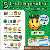March Text Dependent Reading - Text Dependent Writing Prompts (Option 3)