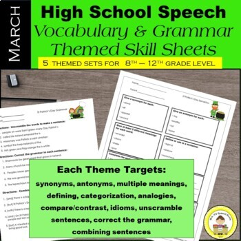March Speech Therapy Theme-Based Vocabulary and Grammar Wo
