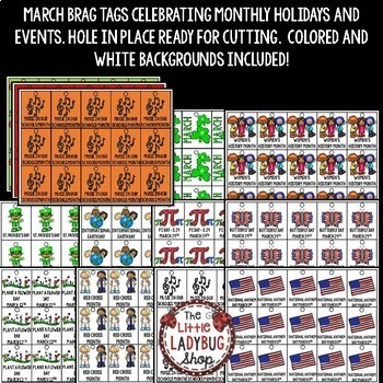 March Theme Brag Tags [St. Patrick's Day, Women's History & More]
