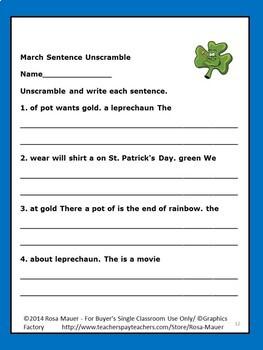 March Sentence Unscramble