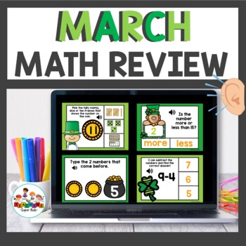 March Themed Math Boom Cards for Kindergarten