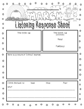 March-Themed {Differentiated} Listen to Reading Response Sheets--FULL version
