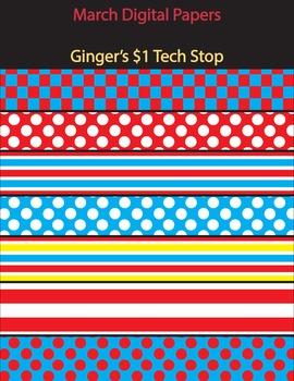 March Themed Digital Paper!  Stripes * Polka Dots
