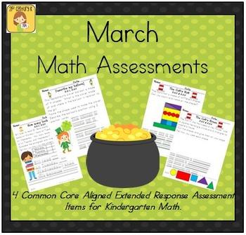 March-Themed Kindergarten Math Extended Response Bundle