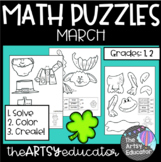 March Themed Math Puzzles - Color by Sum and Difference