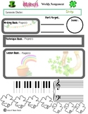 March Themed Piano Lesson Assignment Sheet