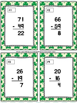 March Themed Subtraction With Regrouping Sorting Activity & SCOOT