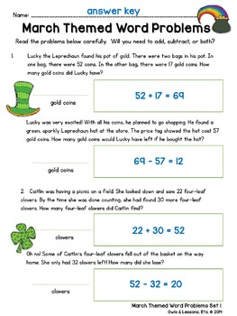 March Themed Two Step Word Problems