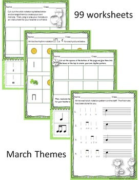 March Themed Worksheet BUNDLE for practicing rhythm & melodic notation