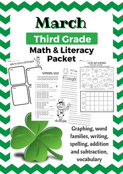 March Third Grade Math & Literacy Packet - St. Patrick's Day Activities
