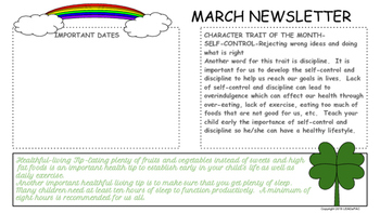 March Traditional School Calendar and Newsletter