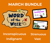 March Word of the Week Vocabulary Bundle: 4 Words (videos,