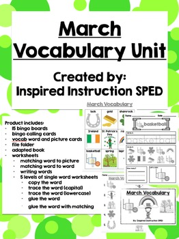 March Vocabulary Unit for Early Elementary or Students with Special Needs
