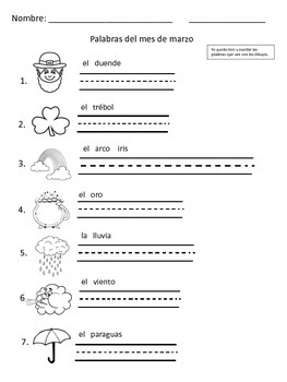 March Vocabulary Word Pack Spanish Freebie