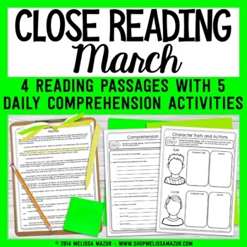 Close Reading Comprehension Passages - March - Distance Learning GOOGLE