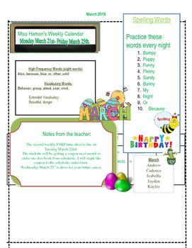 March Weekly Homework Sheet