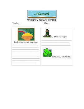March Weekly Newsletter Template