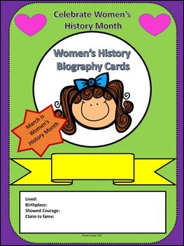 March Women's History Month Biography Cards Activity and Writing Prompt