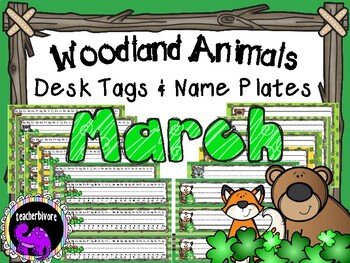 March Woodland Animals Theme Desk Tags and Name Plates