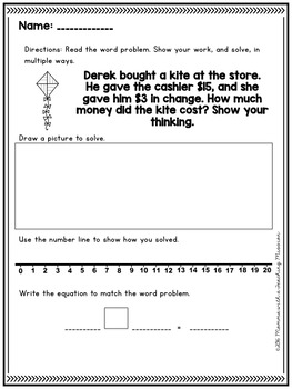 March Word Problem Warm-Ups & Printables 1.OA.1