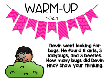 April Word Problem Warm-Ups & Printables 1.OA.1