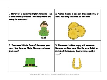 March Word Problems for 1st Grade (TASK CARDS)