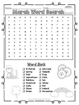 March Word Search 2 Levels