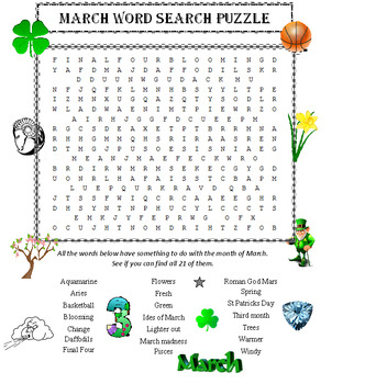 March Word Search Puzzle (The Month of)