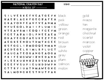 March Word Search Puzzles