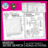 St. Patrick's Day / March Word Search + numbers sentences, maze, etc