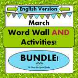 March Word Wall Cards AND Activities! English version