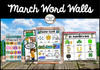 March Word Wall: Weather, St. Patrick's Day, Body, Habitats Thematic Word Lists