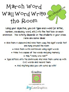 March Word Wall Word Cards (Editable!)