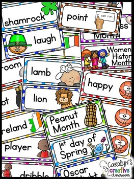 March Word Wall Words - Leprechaun, St. Patrick's Day, Basketball, Life Cycles