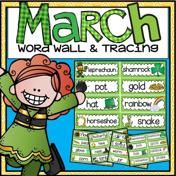 Word Wall and Tracing: March (St. Patrick's Day, Spring, Seasons, handwriting)