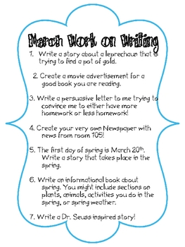 March Work on Writing