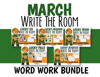 March Write the Room Word Work Bundle-Differentiated and Aligned
