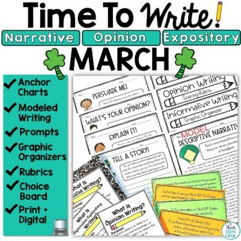 March Writing Prompts: Posters, Models, Rubrics, and Organizers