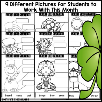 March Writing Activity: Labeling Pictures Using a Word Bank