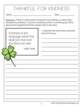 March Writing Activity | Thankful for Kindness Writing | St. Patrick's Day