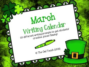Writing Calendar:  20 Prompts for the Month of March