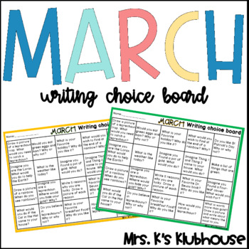 March Writing Choice Board