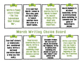 March Writing Choice Board